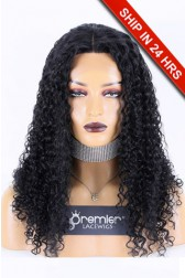Affordable Middle Part Lace Wig Yaki Curly Indian Remy Human Hair 150% Thick Density, Average Size, 20 inches & 22 inches