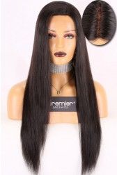 "Real Scalp Silk Top Left Part 13""x3"" Lace Frontal Wig,Indian Remy Hair Silky Straight,150% Thick Density"