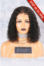 "Textured Natural Curls Bob 13""x4.5"" Lace Frontal Wig [Pre-bleached knots,Pre-plucked hairline,Removable elastic band]"