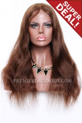 Brown Blending Color 3/4# Full Lace Wigs Indian Remy Hair Natural Straight,18 inches, 120% Normal Density