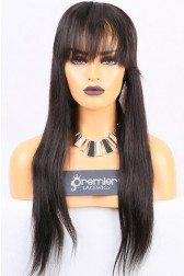 Clearance Silk Top Full Lace Wig,Silky Straight With Bangs, Indian Remy Hair,1b/2# 20 inches,120% Normal Density,Medium Size,Light Brown Lace