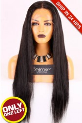 Super Deal Affordable Full Lace Wig,Indian Remy Hair 1B#,24 inches Natural Straight 120% Density, Medium Size,Medium Brown Lace