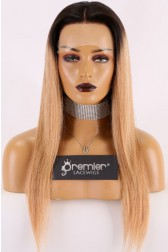 "Blonde Hair With Dark Roots 13""x3"" Lace Frontal Wig,Silky Straight 18 inches 130% Normal Density,Average Size Transparent Lace"