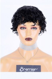Pixie Cut Short Curly Style Machine Made Glueless Cap Wig, Indian Remy Human Hair, Average Cap Size
