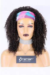 Human Hair Glueless Headband Wig Quick Protective Style Kinky Coily, Average Size 200% Extra Thick Density