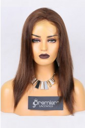 Clearance Full Lace Wig, Yaki Straight,4# 16 inches,120% Normal Density,Medium Size,Light Brown Lace
