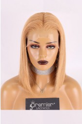 "Copper Blonde Hair Bob Cut,13""x4.5"" Lace Frontal Wig,12 inches Silky Straight 150% Thick Density,Pre-plucked hairline,Removable elastic band"