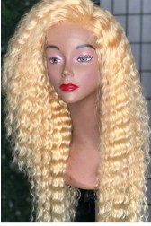 "Deep Wave Blonde Hair 4.5"" Lace Front Wig,Virgin Chinese Hair,613# Color"