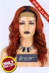 "Super Deal 5""x5"" Lace Closure Wig,Ginger Hair Dark Roots, Indian Remy Human Hair Body Wave,16 inches 180% Thick Density, Average size, Dark Lace, Pre-plucked hairline, Removable elastic band"