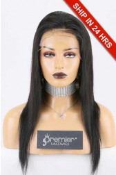 "Super Deal 4.5"" Lace Front Wig,Indian Remy Hair 1B# Color,16 inches Silky Straight"