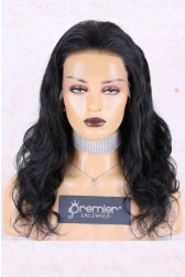 Full Lace Wig Body Wave Indian Remy Hair, 18 inches 1# Jet Black 180% Extra Thick Density,Medium Size, Light Brown Lace,Adjustable Straps
