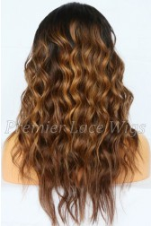 Jordin--Dark Roots Balayage Style Virgin Hair Lace Wig,150% thick density, Pre-bleached knots,Removable elastic band