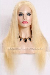 Blonde Human Hair Full Lace Wigs 613# Chinese Virgin Hair Natural Straight Blonde