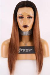 "Brown Hair With Dark Roots 13""x3"" Lace Frontal Wig,Silky Straight 18 inches 130% Normal Density,Average Size Transparent Lace"
