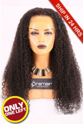 Super Deal Full Lace Wig,Indian Remy Hair Natural Color,24 inches Kinky Curl 180% Thick Density, Large Size,Light Brown Lace Color,Removable Elasic Band
