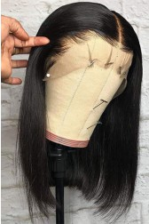 "Blunt Cut Bob Bone Straight 12 inches 6"" Deep Part 360° Lace Wig, Pre-plucked Hairline,Removable Elastic Band"