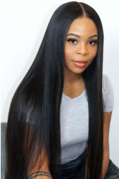 "Light Yaki Texture Hair Straight 13""x6"" Lace Frontal Wig [Pre-bleached knots only for natural black,Pre-plucked hairline,Removable elastic band]"