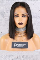 "13""x6"" Lace Frontal Wig,Middle Part Bob Style,Silky Straight,12"" 150% Thick Density   [Advanced Pre-Bleached Knots,Pre-Plucked Hairline,Removable Elastic Band]"