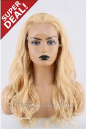 Super Deal 18 inches Lace Front Wig Wavy Blonde Hair, Average Size, 130% Normal Density