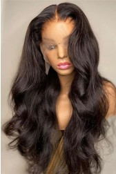 "18-24 inches Gorgeous Wavy Style 13""x4"" Lace Front Wig, Indian Remy Human Hair Natural Black Color 150% Thick Density  [Pre-bleached knots, Pre-plucked hairline,Removable elastic band]"