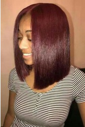 Yolanda-- Burgundy Hair Color #99J Blunt Cut Bob Silky Straight Lace Front Wigs[Pre-Bleached Knots,Pre-Plucked Hairline,Removable Elastic Band]