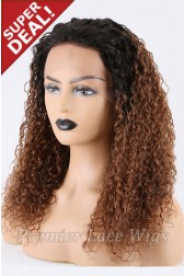 Super Deal 18 inches Lace Front Wig Curly Brown Hair, Average Size, 130% Normal Density