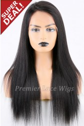 Super Deal 18 inches Lace Front Wig Yaki Straight Indian Remy Hair,Average Size, 130% Normal Density