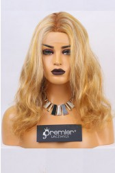 Clearance Full Lace Wig,Blonde Color,Virgin Hair Wavy, 16 inches,130% Normal Density,Small Size,Transparent Lace