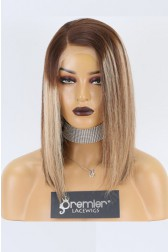 "Sheila--Bob Cut Ombre Straight Hair Blonde Highlights 13""x4"" Lace Frontal Wig, Average Size,14 inches 130% Normal Density"
