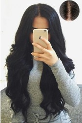 "Gorgeous Wavy 4.5"" Super Deep Middle Part Human Hair Lace Front Wigs{Custom Wig Production Time 15 working days}"