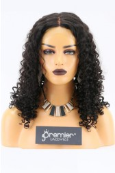 Clearance Full Lace Wig, Indian Remy Hair Curly, 1B# 22 inches,120% Normal Density, Medium Size,Light Brown Lace