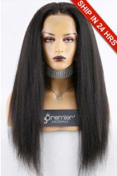 """Super Deal 4.5"""" Lace 360 Wig,Indian Remy Hair Natural Color,22 inches Kinky Straight 150% Thick Density, Medium Size,Dark Brown Lace."""
