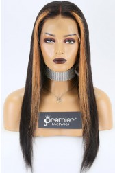 Sasha-- Highlights Hair Bone Straight 360 Lace Wig. Indian Remy Hair,Pre-plucked Hairline,Removable Elastic Band