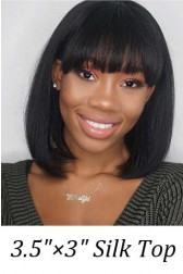 """Full Bangs Bob Style With Real Scalp 3.5""""×3"""" Silk Top,Indian Remy Human Hair Wig Yaki Straight 150% Thick Density"""