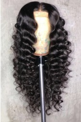 "Loose Curly 13""x6"" Lace Frontal Wig Indian Remy Human Hair  [Pre-bleached knots only for natural black,Pre-plucked hairline,Removable elastic band]"
