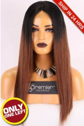 Super Deal Middle Part Lace Part Wig,Indian Remy Hair Ombre Color,18 inches Yaki Straight 130% Density, Medium Size,Medium Brown Lace