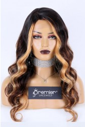 Affordable Real Scalp Silk Top Side Parting Wig,Gorgeous Wavy Hair Blonde Highlights Brown Ombre,150% Thick Density, Indian Remy Human Hair