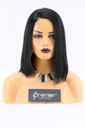 Clearance Bob Style Lace Front Wig,Yaki Straight Indian Remy Hair, 1# 14 inches,130% Normal Density,Average Size,Medium Brown Lace