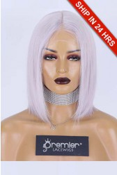 Gray Hair Middle Part T Lace Wig, Indian Remy Human Hair Bob Style 12 inches 150% Average Size