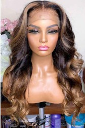 "Blonde Highlights Ombre Wavy Human Hair 13""x6"" Lace Frontal Wig [Pre-bleached knots,Pre-plucked hairline,Removable elastic band]"