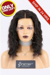 """Super Deal Invisible Knots,Super Thin Transparent HD Lace,13""""x 6"""" Lace Frontal Wig Indian Remy Hair Wavy,12 inches 130% Normal Density,Large Size [Pre-Plucked Hairline,Removable Elastic Band]"""