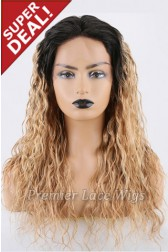 Super Deal 18 inches Lace Front Wig Curly Blonde Hair, Average Size, 130% Normal Density