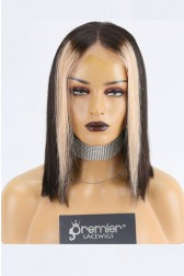 "Zahra--Straight Black Hair Bob Cut Blonde Highlights 13""x4"" Lace Frontal Wig, Average Size,12 inches 150% Thick"