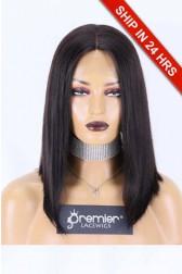 Full Lace Wig Yaki Bob Brazilian Virgin Hair 1B# 14 inches 120% Small Size