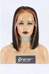 "Jennifer--Highlight Hair Bone Straight Blunt Cut Bob 13""x6"" Lace Frontal Wig,150% Thick Density [Pre-Bleached Knots,Pre-Plucked Hairline,Removable Elastic Band]"