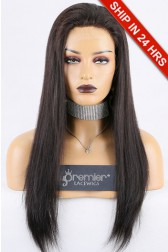 Clearance Sale HD Transparent Lace Full Lace Wig Straight,Chinese Virgin Hair,Natural Black, Medium Size 20 inches