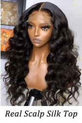 Affordable Real Scalp Silk Top Part Wig Loose Wave Indian Remy Human Hair