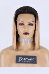 """Blunt Cut Bob Dark Roots Blonde Hair 13""""x3"""" Lace Frontal Wig, Silky Straight,12 inches, Average Size,150% Thick Density, Removable Elastic Band"""