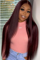 """Burgundy Hair Color #99J 13""""x4"""" Lace Front Wig Indian Remy Human Hair Silky Straight [Pre-bleached knots, Pre-plucked hairline, Removable elastic band]"""