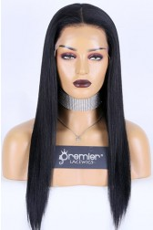 Affordable Full Lace Wig Yaki Straight, Indian Remy Human Hair, Medium  Cap Size,120% Normal Density, Adjustable Straps